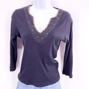 Cha Cha Vente Top W/ sequins and beads